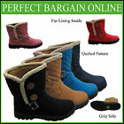 New Ladies Flat Buckle Black Ankle Boots Double Button Quilted Fur Lined Shoe Uk