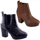 LADIES WOMENS TAN MID HEEL STUDDED CHELSEA BOOTS SHOES 3-8