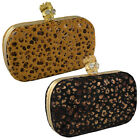LADIES FAUX FUR ANIMAL BOX CLUTCH DIAMANTE SKULL WOMAN PARTY SHOULDER HANDBAG