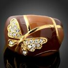 Gold 18K Yellow Gp Clear Swarovski Crystals Elements Brown El Butterfly Rings