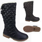 WOMENS LADIES FLAT QUILTED FUR LINING CALF KNEE WINTER SNOW BOOTS GRIP SOLE 3-8