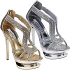 LADIES WOMENS GOLD SILVER DIAMANTE STRAPPY HIGH HEEL PLATFORM PARTY SHOE 3-8