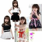 Girls Kids Pretty Baby Party Dress With Flower Dot Princess Tutu Mini Dress 2-7Y