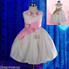 Satin Formal Dress Wedding Flower Girl Party Baby Cream Size 6months-3y FG225