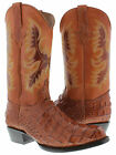 Men's cognac brown leather crocodile alligator Back Cut cowboy boots