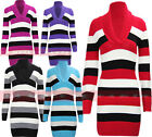 N38 NEW WOMENS LADIES KNITTED STRIPED V-NECK JUMPER DRESS IN SIZE 08-14.