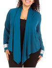 Womens XL/1X,2XL,3XL Teal  Sequin Long Sleeve Draped Open Front Cardigan