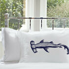 Two (2) Hammerhead Shark White Nautical Pillowcases cover pillow King Size