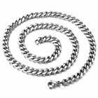 """3/5/7mm Stainless Steel Silver Cuban Link Chain MEN NECKLACES 18""""-36 inches"""