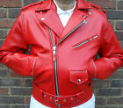 MENS RED MOTORCYCLE MOTORBIKER BRANDO PERFECTO CLASSIC LEATHER JACKET