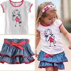 Girls Kids Top T-shirt Skirt 2pcs Princess Mini Dress 1-6Y Party School Clothing