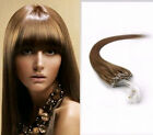 "100Stands 20""-26"" Micro Loop Ring Remy Human Hair Extension Light Brown #12 1g/S"
