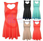 New Ladies Womens Sleeveless Bodycon Stretch Heart Rib Party Dress Top Size 8-14