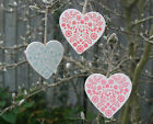 Vintage Chic Wooden Love Heart Red Pink Aqua Shabby Hanging Decoration Wedding