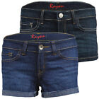 LADIES DENIM SHORTS WOMAN'S BLUE JEANS HOTPANTS UK SIZE 6-16