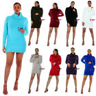 Womens Cowl Neck Knitted Jumper Bodycon Dress Tunic Top Size 8 10 12 14 16