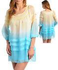 Women 3/4 Sleeve VINTAGE CHIFFON TUNIC Teal Mustard Dress Top Size 10 NEW