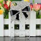 Transparent Bling Diamond Black Metal Bow Skin Back Case Cover For iPhone 4S 4G