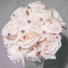 Color Accented Crystal Pave Button Wedding Bouquet Jewelry Picks   Set of 5