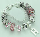 Girls PERSONALISED Jewellery Pink Silver Charm Bead Bracelet BIRTHDAY Gifts