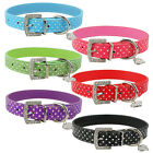 (6 Colors) Classical Polka Dot Leather Dog Cat Puppy Collar Heart Diamante Charm