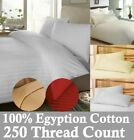 100% Egyptian Cotton Satin Stripe 250 Thread Count Duvet Cover, Fitted, Flat