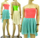 Neon Coral High Low Hem Dress Sheer Pleated Corset Elastic Panel Strapless