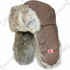 Faux Brown Leather and Rabbit FUR USHANKA CAP - All Sizes Trapper Winter Hat New