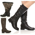 WOMENS LADIES LOW HEEL FLAT ZIP CALF MILITARY FUR BUCKLE BIKER ARMY BOOTS SIZE