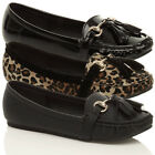 WOMENS LADIES GIRL FLAT BUCKLE TASSEL SLIPPERS MOCCASIN LOAFERS PUMPS SHOES SIZE