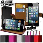 FLIP WALLET REAL LEATHER CASE COVER FITS APPLE IPHONE 5 FREE SCREEN PROTECTOR
