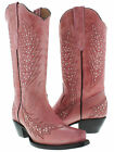 Women's pink cowboy boots ladies leather studded western riding biker rodeo new