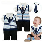 Boys Baby Blue Romper Pants Striped 1Pcs SZ3-24M Outfit Jumpsuit Bowtie Clothing