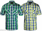 Mens designer short sleeve cotton check shirt new