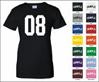 Number 08 Zero Eight Sports Number Woman's Jersey T-shirt Front Print