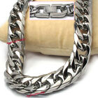 MENS BOYS Stainless Steel 11mm SIX FACETED CUT Cuban Curb Necklace HAND POLISHED