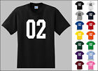 Number 02 Zero Two Sports Number Youth Jersey T-shirt Front Print