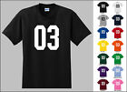 Number 03 Zero Three Sports Number Youth Jersey T-shirt Front Print