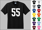 Number 55 Fifty Five Sports Number Youth Jersey T-shirt Fron
