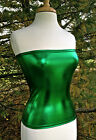 TUBE TOP STRETCH KELLY GREEN LAME METALLIC FULL LENGTH STRAPLESS  S M or L