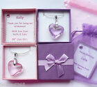 Crystal Heart Pendant Necklaces in Personalised Box Bridesmaid Birthday Gift