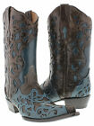 women's turquoise brown cowboy boots ladies leather overlay western rodeo riding