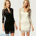 Fashion Womens Floral Lace V-neck 3/4 Sleeve Slim Cocktail Clubbing Party Dress