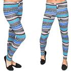 New Womens Ladies Colour Aztec Print Full Length Leggings Size S M L XL 8-14-18