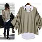 Women's 2 in 1 Style Casual Loose Tops Batwing T-Shirt Blouse Tank Vest