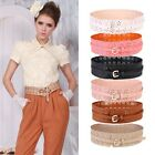 Hollow Flower Lace Elegant Princess Style PU Leather Wide Candy Color Belt