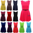 NEW LADIES WOMENS BELTED FLARED FRANKI SKATER DRESS SLEEVELESS PLEATED PARTY TOP