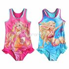 Girls Kid Barbie Open Back Swimsuit Swimwear Bathing Suit Swim Costume 3 4 5 6 8