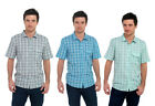 Mens/Gentlemens Check Printed Short Sleeve Shirt With Chest Pockets