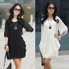 Women Elegant OL Style Chiffon Black White Colour Cocktail Mini Dress S-XXXXL